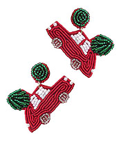 HANDMADE MULTI SEEDBEAD AND EMBROIDER EARRING - CAR AND TREE