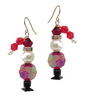 FACET STONE SANTA EARRING
