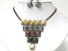 CRYSTAL DECO FLAT SPIKE LINK BIB STYLE NECKLACE EARRING SET