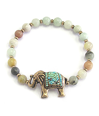 SEED BEAD ELEPHANT STONE BALL STRETCH  BRACELET