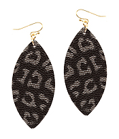 LEATHER TEXTURED ANIMAL PRINT MARQUISE EARRING