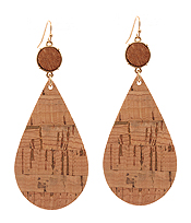 CORK WOOD PRINT LEATHERETTE TEARDROP EARRING