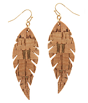 CORK WOOD PRINT LEATHERETTE LEAF EARRING