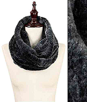 FROSTY TWISTED FUR TUBE INFINITY SCARF - 100% POLYESTER