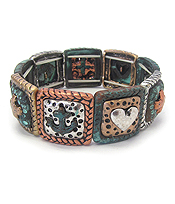 MULTI THEME STRETCH BRACELET - ANCHOR HEART