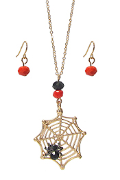 HALLOWEEN THEME NECKLACE SET - SPIDER WEB