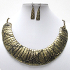 MULTI TEXTURED METAL BAR LINK BIB STYLE NECKLACE EARRING SET