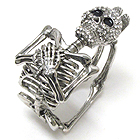 CRYSTAL SKULL AND SKELETON HINGE BANGLE BRACELET