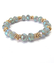 MULTI FACET GLASS BEAD AND RONDELLE STRETCH BRACELET