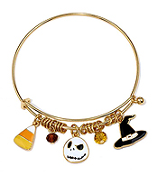 HALLOWEEN THEME CHARM ALEX AND ANI STYLE WIRE BANGLE BRACELET