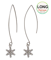 CRYSTAL SNOWFLAKE LONG FISH HOOK EARRING