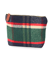 TARTAN POUCH COSMETIC BAG - 100% POLYESTER