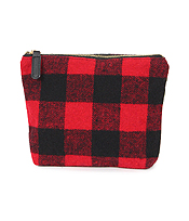 BUFFALO CHECK POUCH COSMETIC BAG - 100% POLYESTER