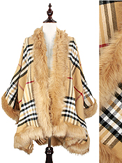 FUR TRIM PLAID CAPE - 100% ACRYLIC