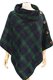COCONUT BUTTON PLAID PONCHO - 100% POLYESTER