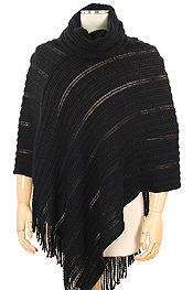 SEQUINS DECO KNIT PONCHO - 100% ACRYLIC