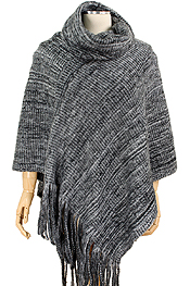 BRUSHED KNIT PONCHO - 100% ACRYLIC