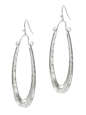 METAL OVAL DROP EARRING