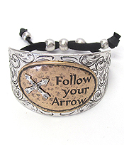 TEXTURED CHUNKY METAL AND SUEDE PULL TIE BRACELET - FOLLOW YOUR ARROW