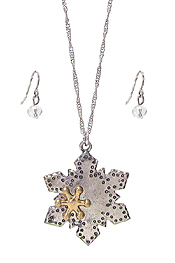 CHRISTMAS THEME SNOW FLAKE PENDANT NECKLACE