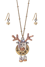 CHRISTMAS THEME RUDOLPH REINDEER PENDANT NECKLACE SET