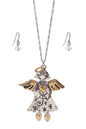ANGEL PENDANT NECKLACE SET - CHRISTMAS THEME