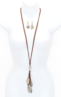 MULTI STONE DROP LONG SUEDE CHAIN NECKLACE SET