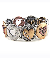 MULTI TEXTURED HEART DISK LINK STRETCH BRACELET