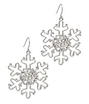 CHRISTMAS THEME WIRE SNOWFLAKE EARRING
