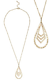 METAL CHEVRON AND TEARDROP PENDANT LONG NECKLACE