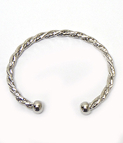 TEXTURED METAL CABLE CUFF BANGLE BRACELET