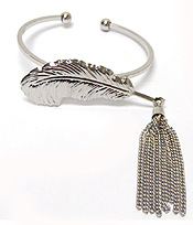 METAL FEATHER WITH TASSEL DROP CUFF BANGLE BRACELET