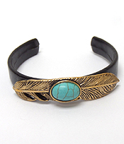 FEATHER WITH STONE CENTER CUFF BANGLE BRACELET