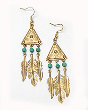 SEEDBEADS METAL FEATHER FISH HOOK EARRINGS
