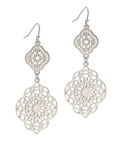 METAL FILIGREE QUATREFOIL DROP EARRING