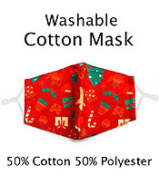 CHRISTMAS THEME WASHABLE FACE MASK WITH FILTER INTERLAYER AND ADJUSTABLE LENGTH - GINGER BREAD