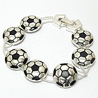 SLIDING FOLD OVER CLASP SOCCER BALL THEME BRACELET