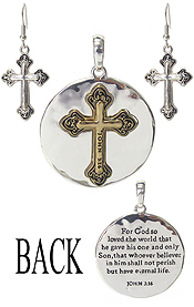 RELIGIOUS INSPIRATION MESSAGE BACK PENDANT AND EARRING SET - JOHN 3:16