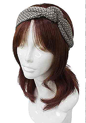 DIAMOND PATTERN SIDE KNOT HEADBAND - 60% ACRYLIC 40% POLYESTER
