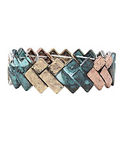 VINTAGE METAL BAR LINK STRETCH BRACELET