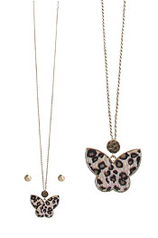 ANIMAL PRINT BUTTERFLY PENDANT LONG NECKLACE SET