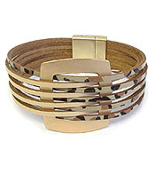 MULTI LAYER LEATHERETTE MAGNETIC BRACELET