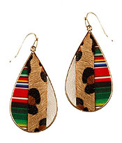 FABRIC AND MEATL BACK ANIMAL PRINT AND MOSAIC EARRING - TEARDROP