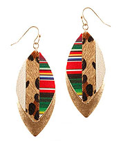 FABRIC AND METAL BACK ANIMAL PRINT AND MOSAIC EARRING - MARQUISE