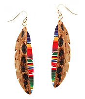 FAUX LEATHER AND CORK MIX ANIMAL PRINT AND MOSAIC EARRING - FEATHER