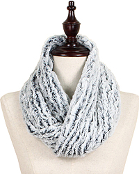 TWO TONE FUR TUBE 100% POLYESTER INFINITY SCARF