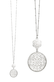 METAL FILIGREE DOUBLE DISC PENDANT LONG NECKLACE