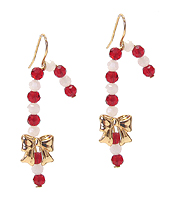 MULTI BEAD CANDY CANE EARRING  - CHRISTMAS THEME
