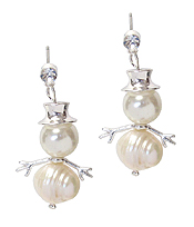 FRESH PEARL SNOWMAN EARRING - CHRISTMAS THEME