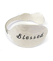 RELIGIOUS INSPIRATION MESSAGE ON SPOON HEAD BANGLE BRACELET - BLESSED